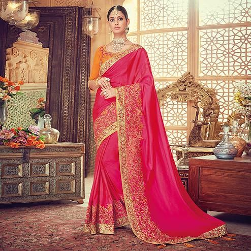 Staring Deep Pink Colored Party Wear Embroidered Silk Saree
