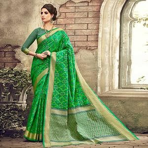 Innovative Green Colored Festive Wear Patola Silk Saree