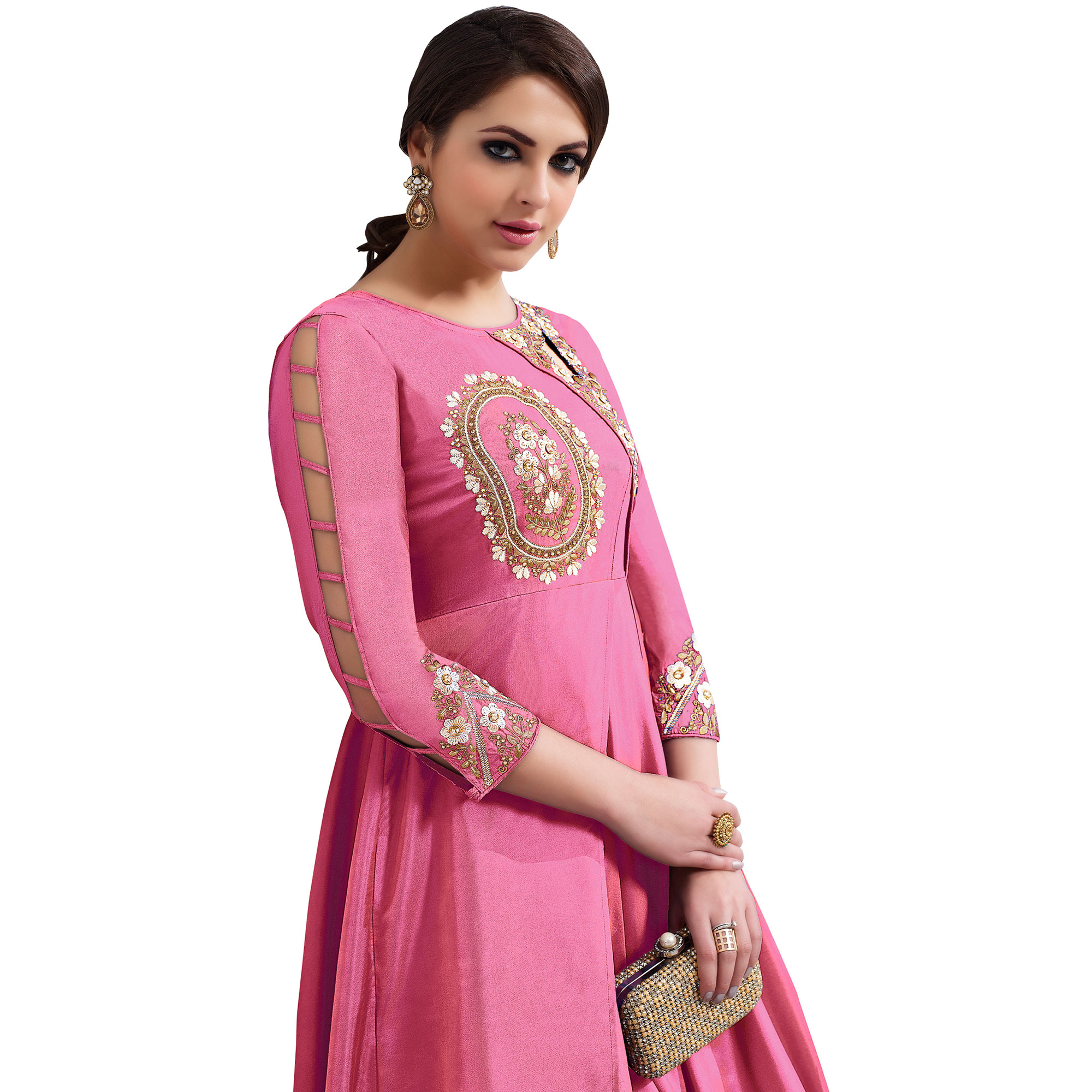 Megnetic Pink Colored Partywear Embroidered Tapeta Silk Gown