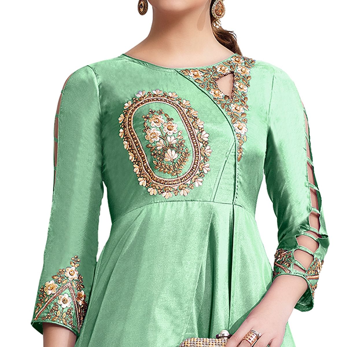 Refreshing Turquoise Green Colored Partywear Embroidered Tapeta Silk Gown