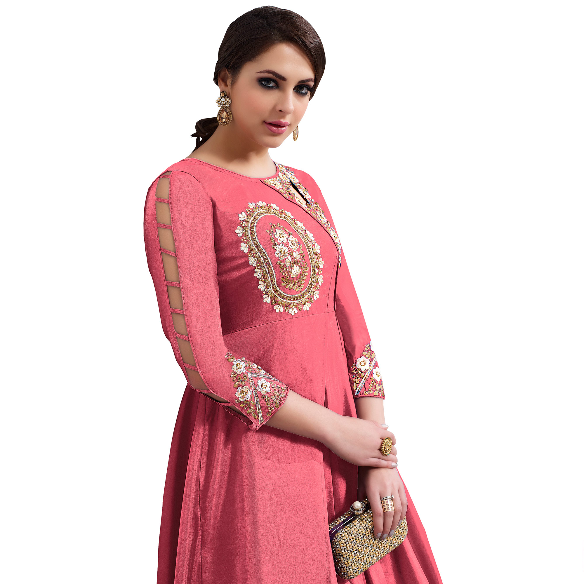 Arresting Dark Pink Colored Partywear Embroidered Tapeta Silk Gown