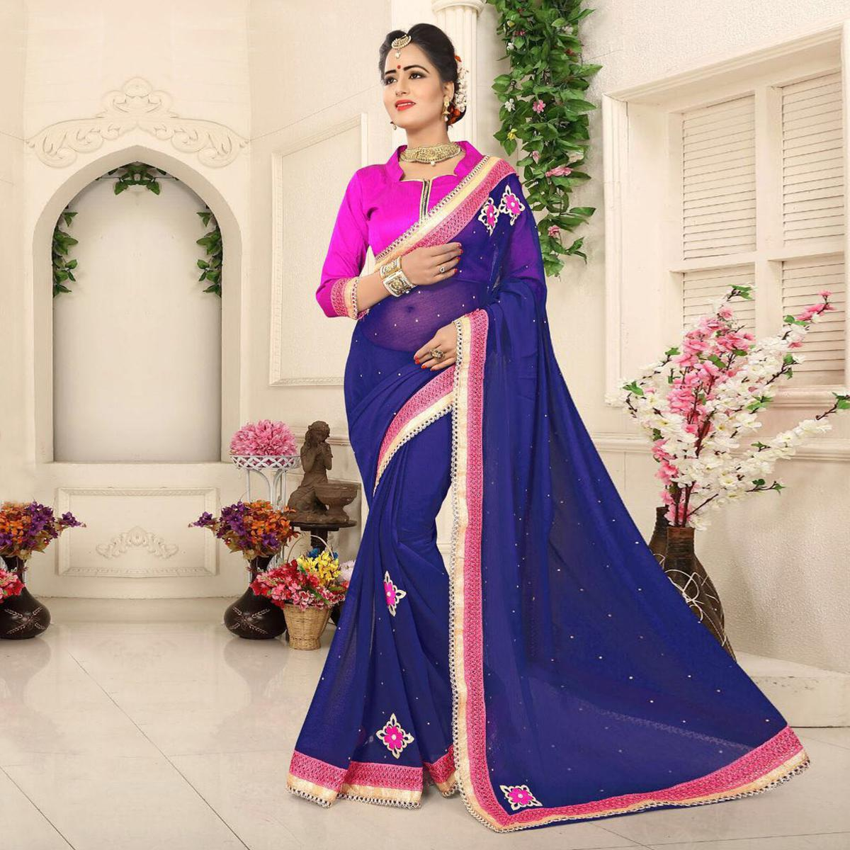 Beautiful Navy Georgette Partywear Saree
