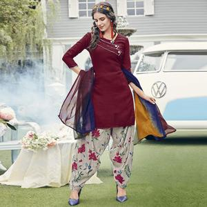 Attractive Maroon Colored Casual Printed Crepe Dress Material