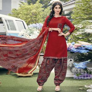 Glowing Red Colored Casual Printed Crepe Dress Material
