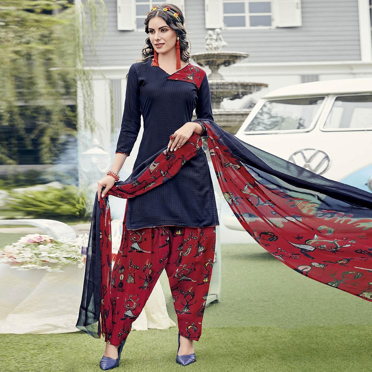 Gorgeous Navy Blue Colored Casual Printed Crepe Dress Material