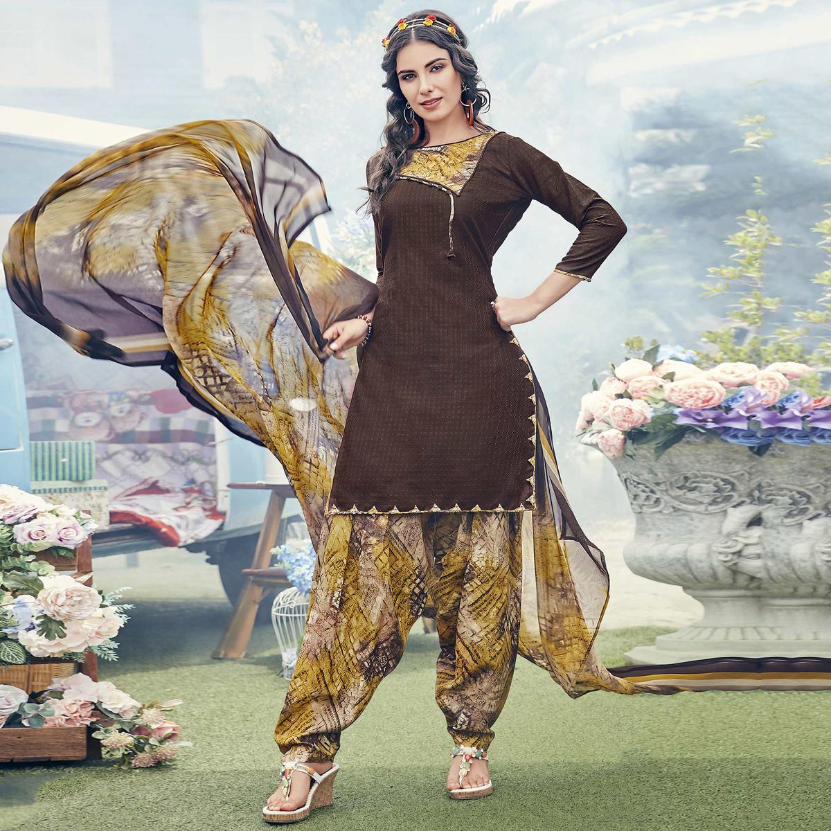 Groovy Brown Colored Casual Printed Crepe Dress Material