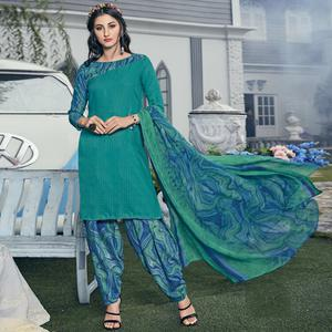 Refreshing Turquoise Green Colored Casual Printed Crepe Dress Material