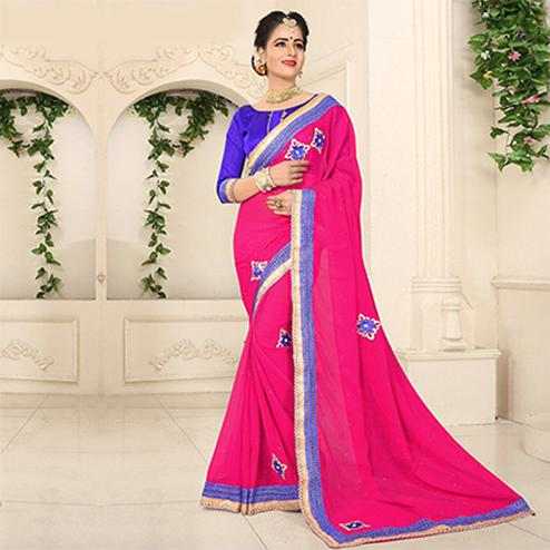 Hot Pink Georgette Partywear Saree