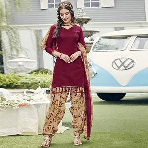 Stunning Maroon Colored Casual Printed Crepe Dress Material