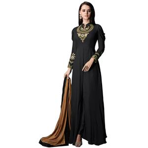 Hypnotic Black Colored Partywear Embroidered Georgette Anarkali Suit