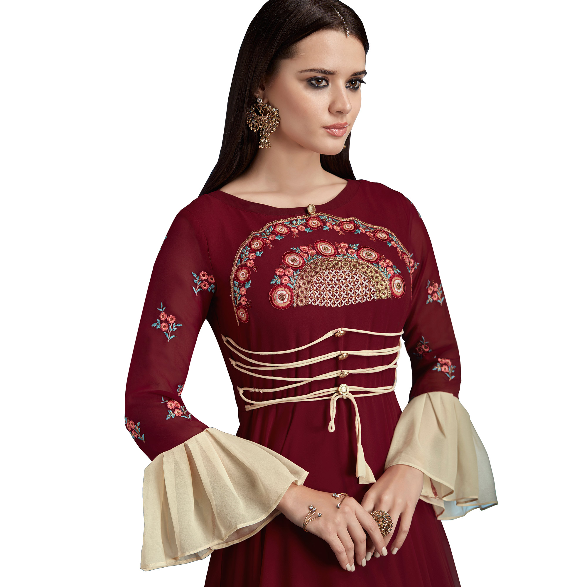 Majestic Maroon Colored Partywear Embroidered Georgette Anarkali Suit
