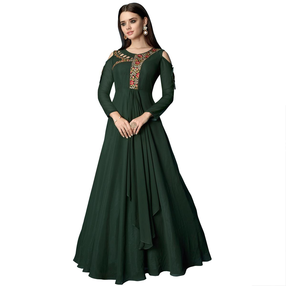 Blooming Dark Green Colored Partywear Embroidered Georgette Anarkali Suit