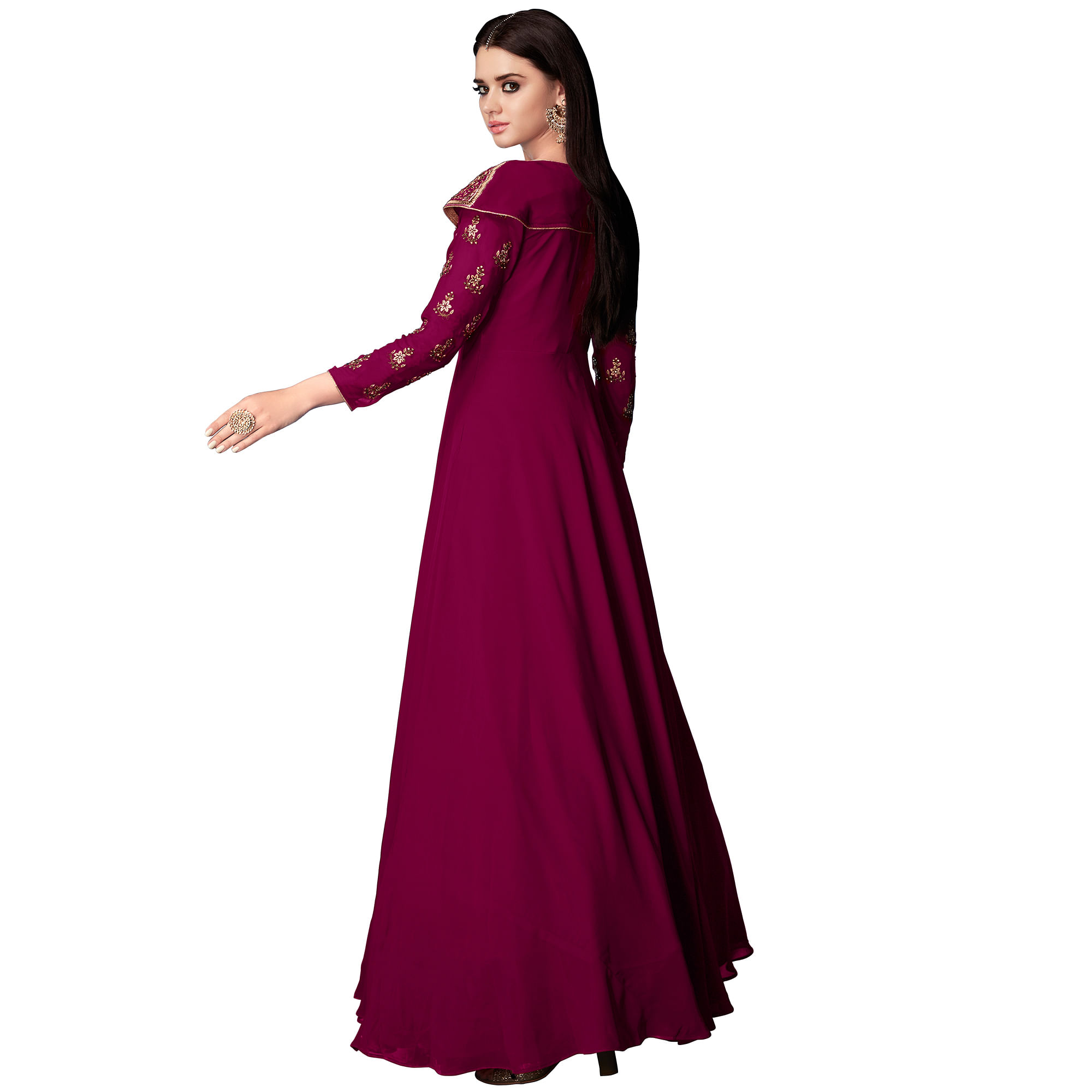 Impressive Magenta Pink Colored Partywear Embroidered Georgette Anarkali Suit