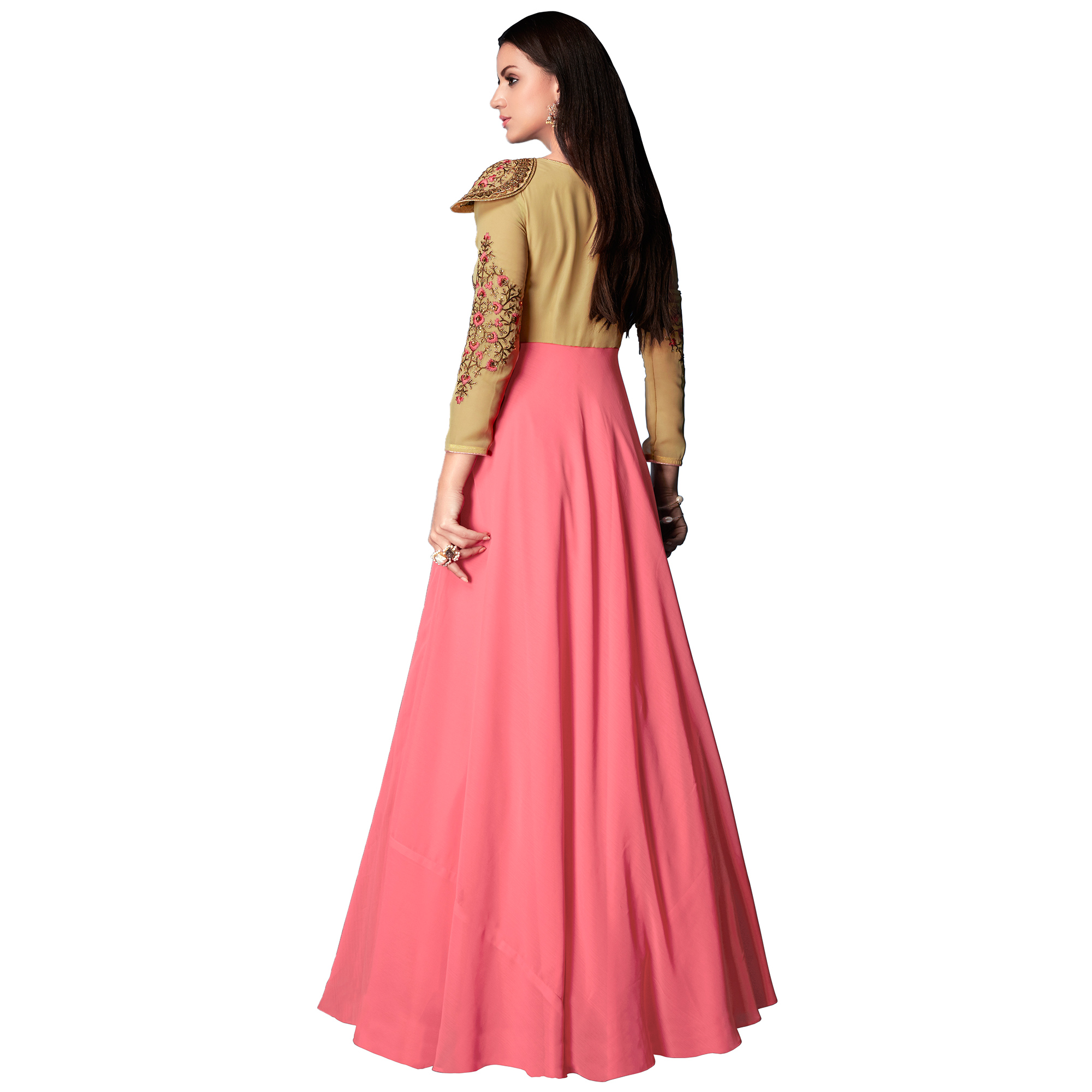 Pretty Pink-Beige Colored Partywear Embroidered Georgette Anarkali Suit
