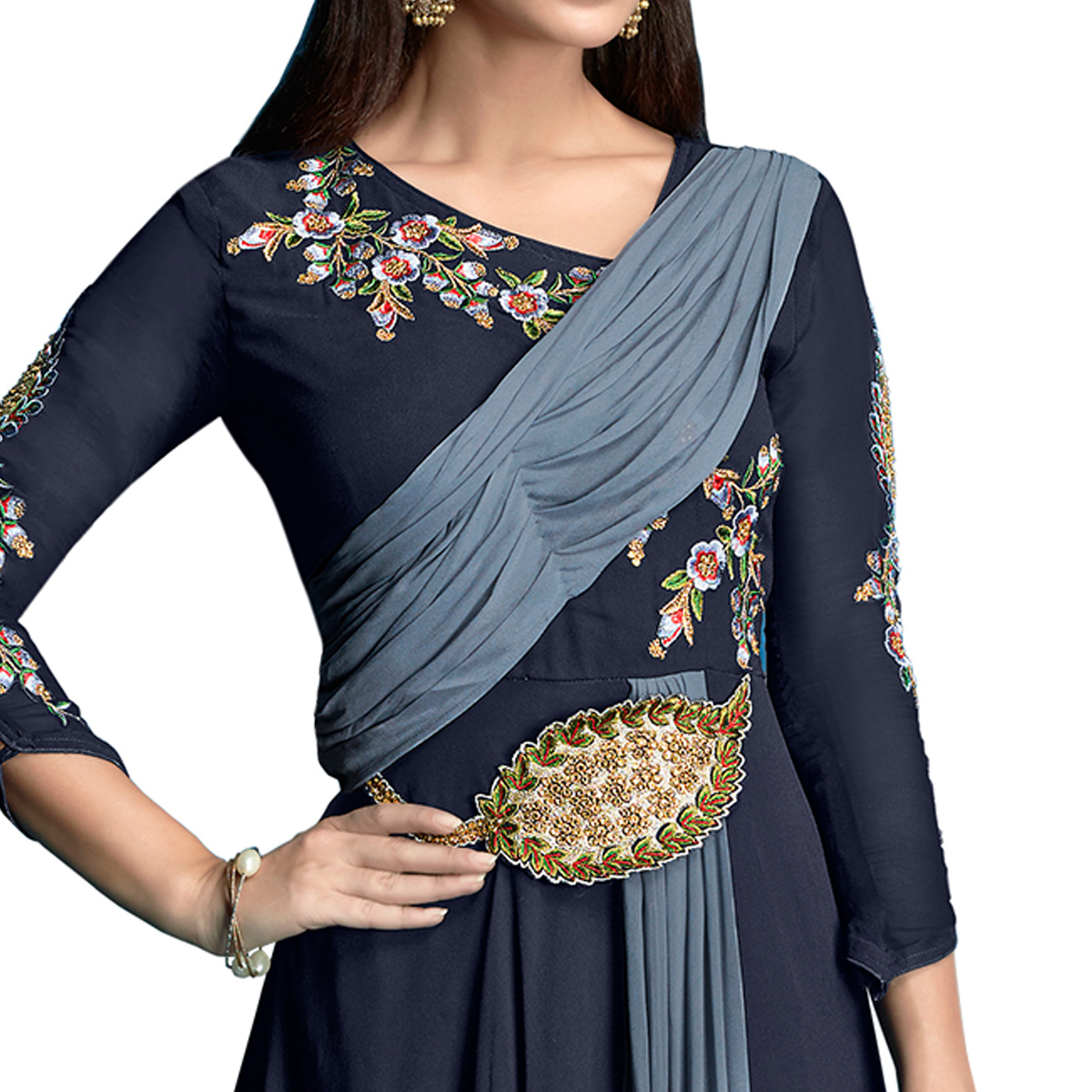 Surpassing Navy Blue Colored Partywear Embroidered Georgette Anarkali Suit