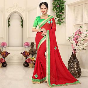 Lipstick Red Georgette Partywear Saree