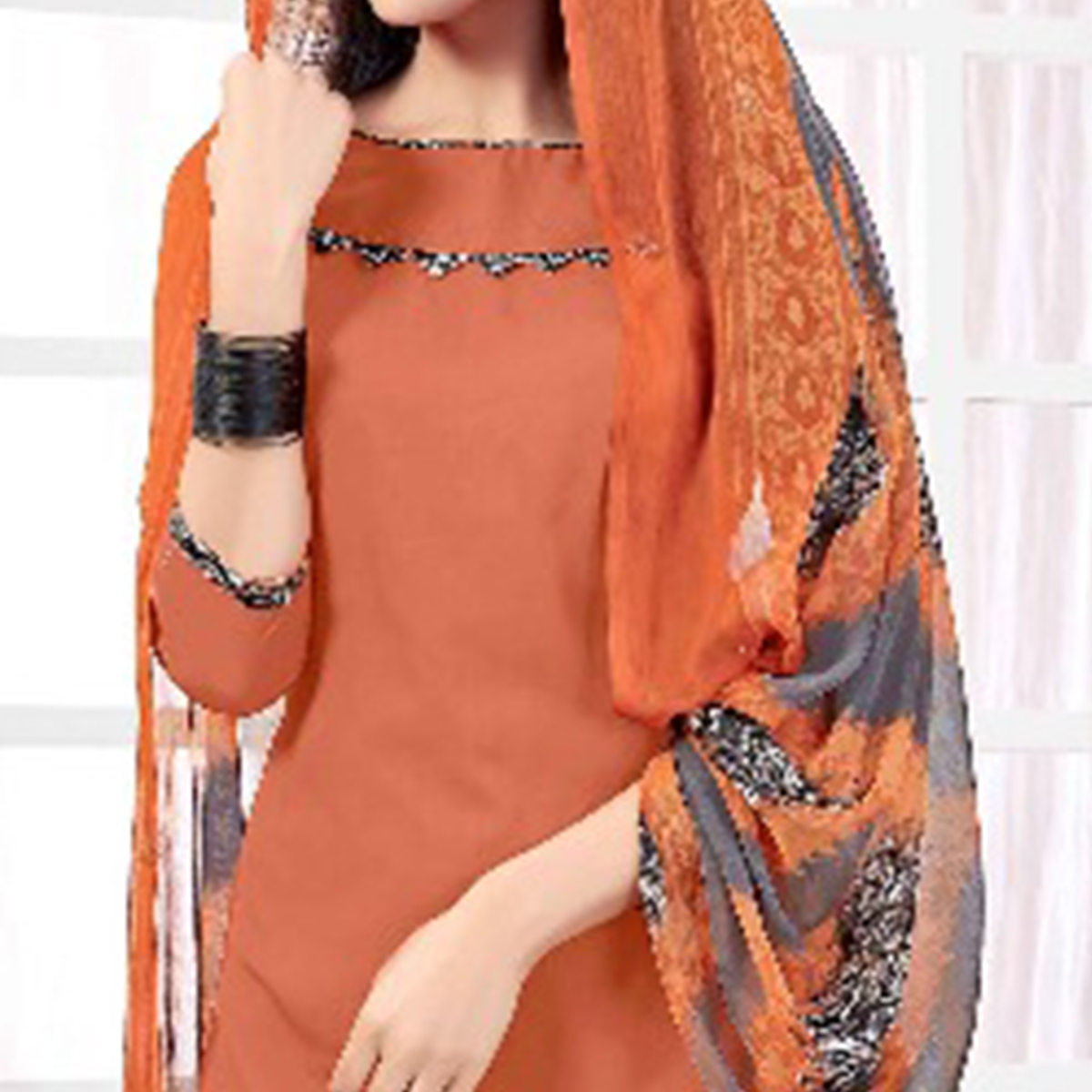 Blooming Light Orange Colored Casual Printed American Crepe Dress Material