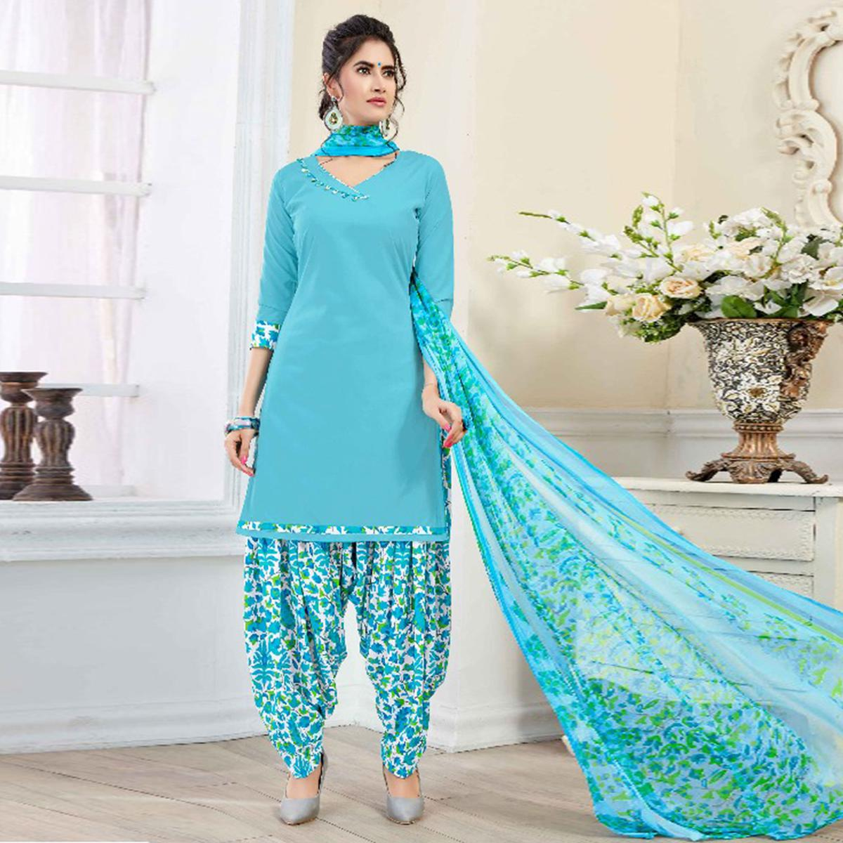 Impressive Sky Blue Colored Casual Printed American Crepe Dress Material