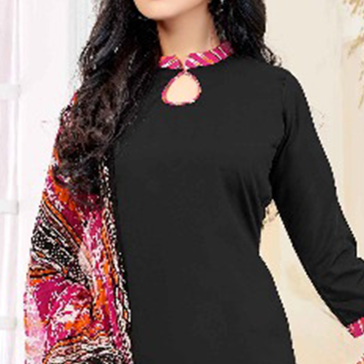 Beautiful Black Colored Casual Printed American Crepe Dress Material