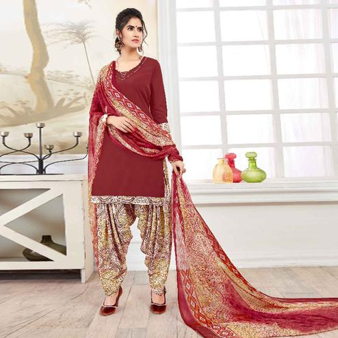 Mesmeric Maroon Colored Casual Printed American Crepe Dress Material