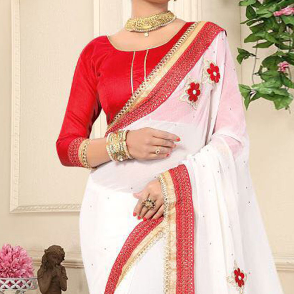 Classy White Georgette Partywear Saree
