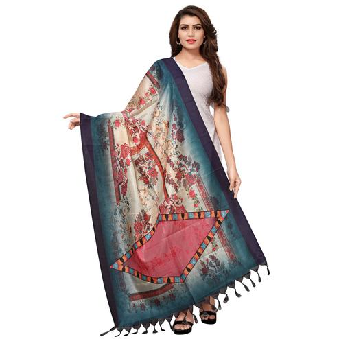 Lovely Cream-Blue Colored Casual Wear Digital Printed Khadi Silk Dupatta