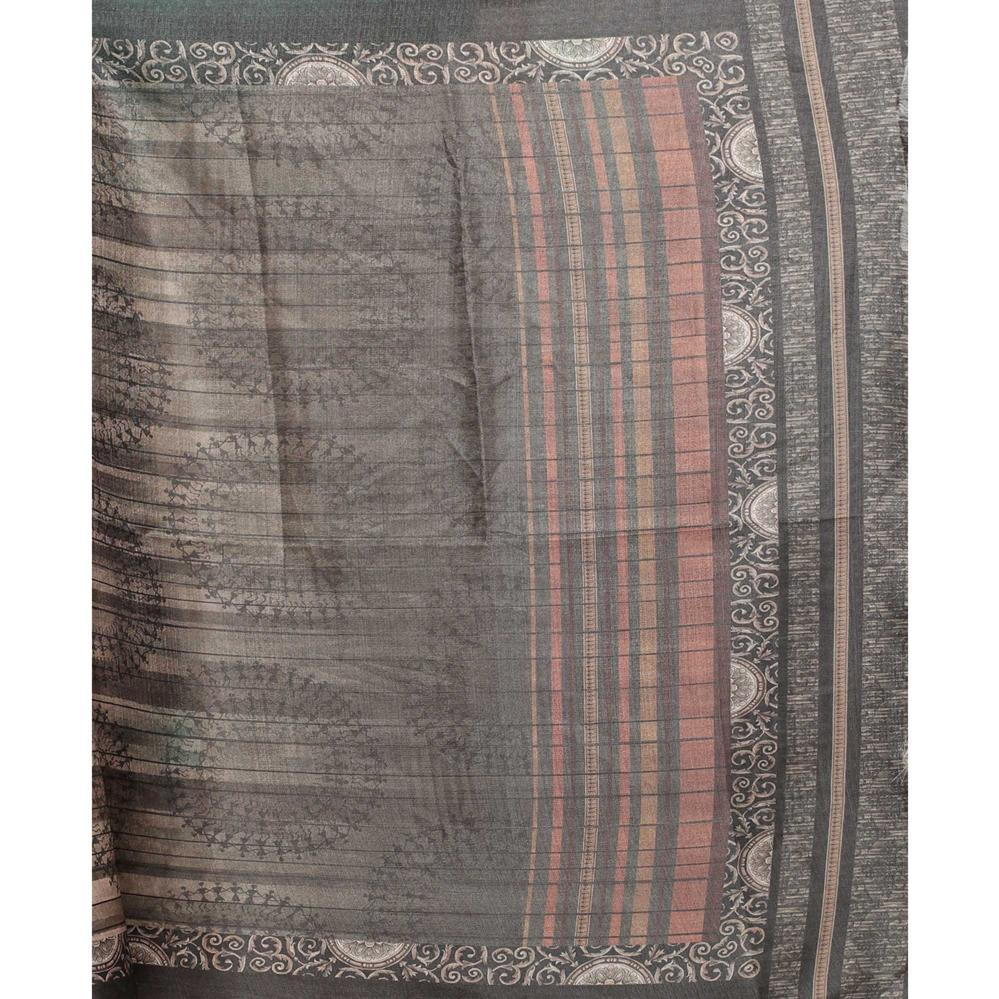 Pretty Grey-Beige Colored Casual Wear Digital Printed Khadi Silk Dupatta
