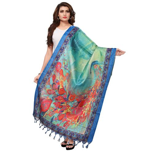 Charming Blue Colored Casual Wear Digital Printed Khadi Silk Dupatta