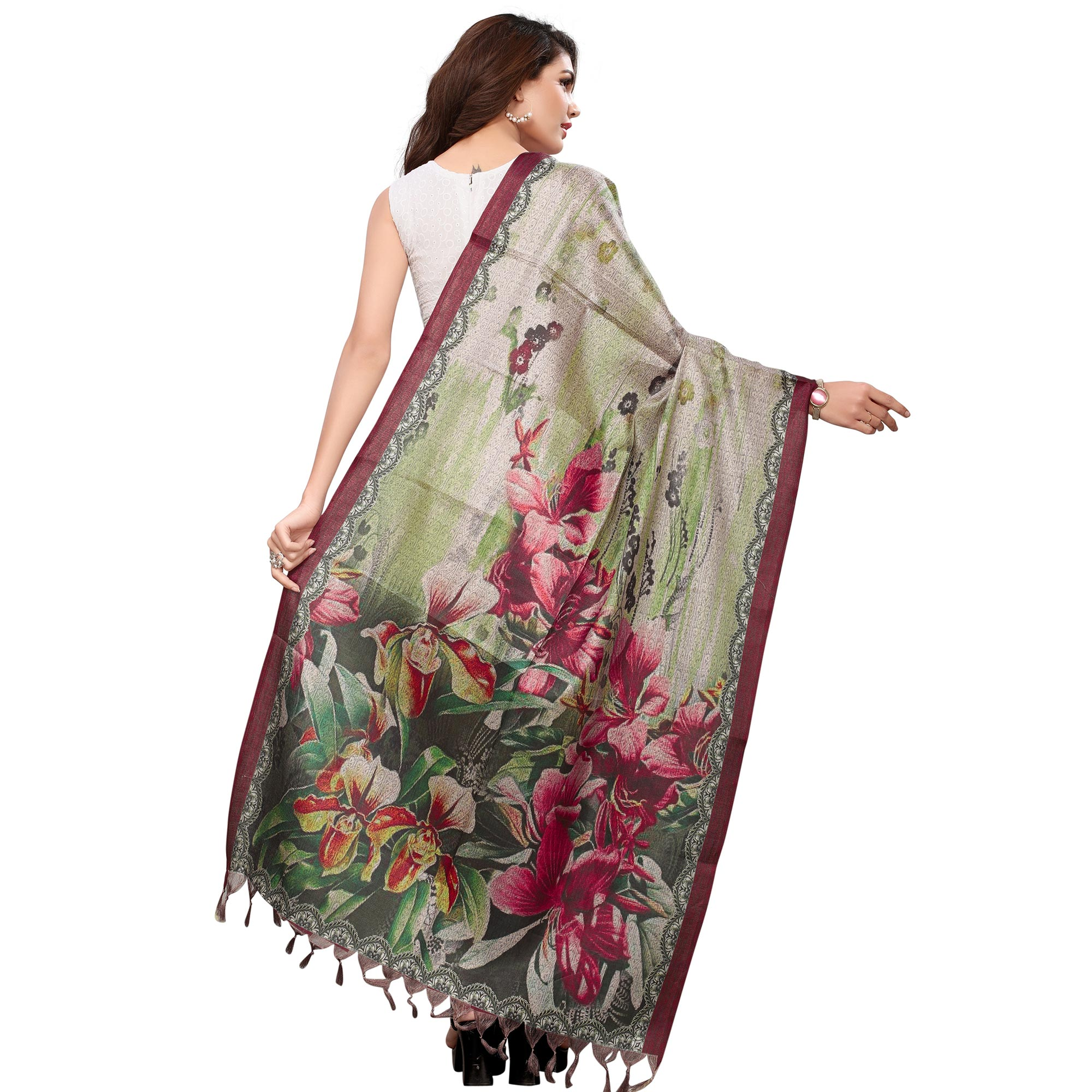 Ravishing Beige-Green Colored Casual Wear Digital Printed Khadi Silk Dupatta