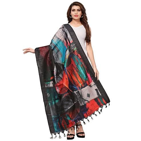 Delightful Multicolored Casual Wear Digital Printed Khadi Silk Dupatta