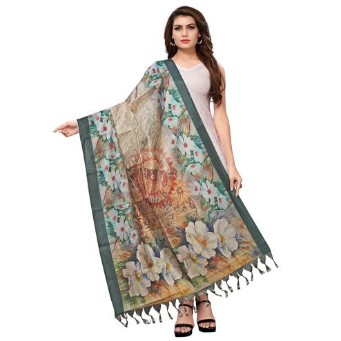 Stunning Beige Colored Casual Wear Digital Printed Khadi Silk Dupatta