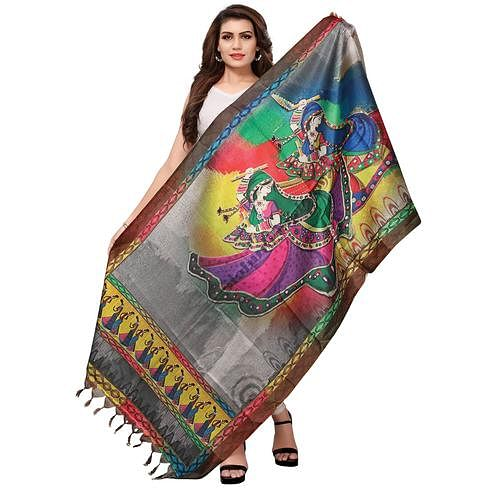 Blooming Multicolored Casual Wear Digital Printed Khadi Silk Dupatta
