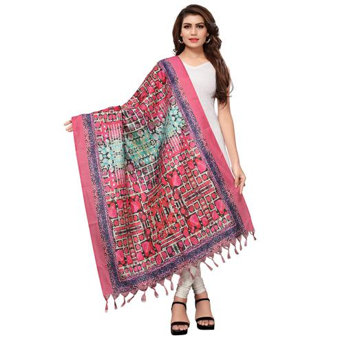Marvellous Pink Colored Casual Wear Digital Printed Khadi Silk Dupatta