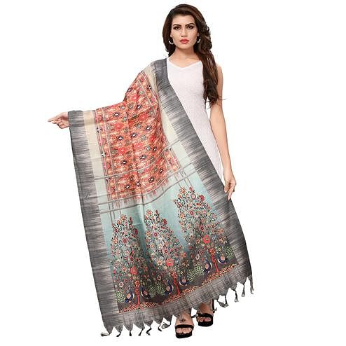 Mesmerising Peach-Grey Colored Casual Wear Digital Printed Khadi Silk Dupatta