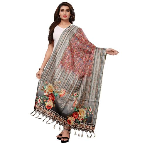 Ravishing Red-Grey Colored Casual Wear Digital Printed Khadi Silk Dupatta