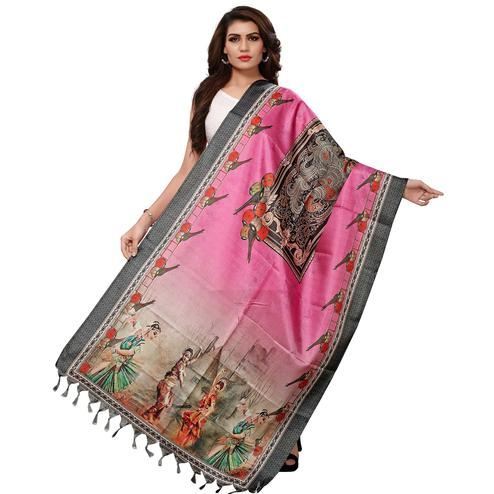 Eye-catching Pink Colored Casual Wear Digital Printed Khadi Silk Dupatta