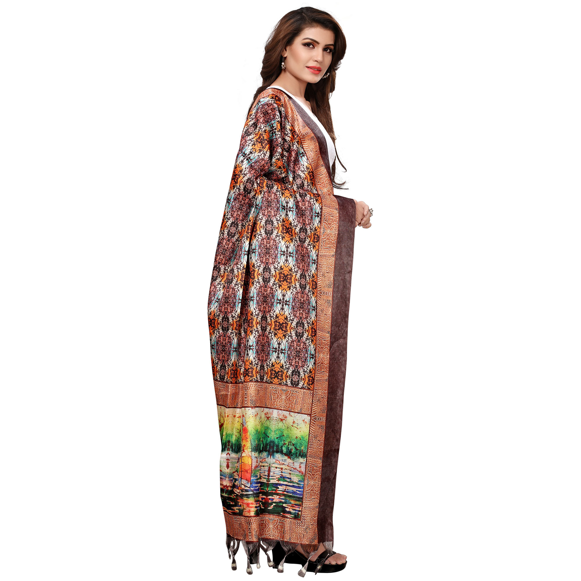 Exotic Brown Colored Casual Wear Digital Printed Khadi Silk Dupatta