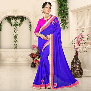 Royal Blue Georgette Partywear Saree