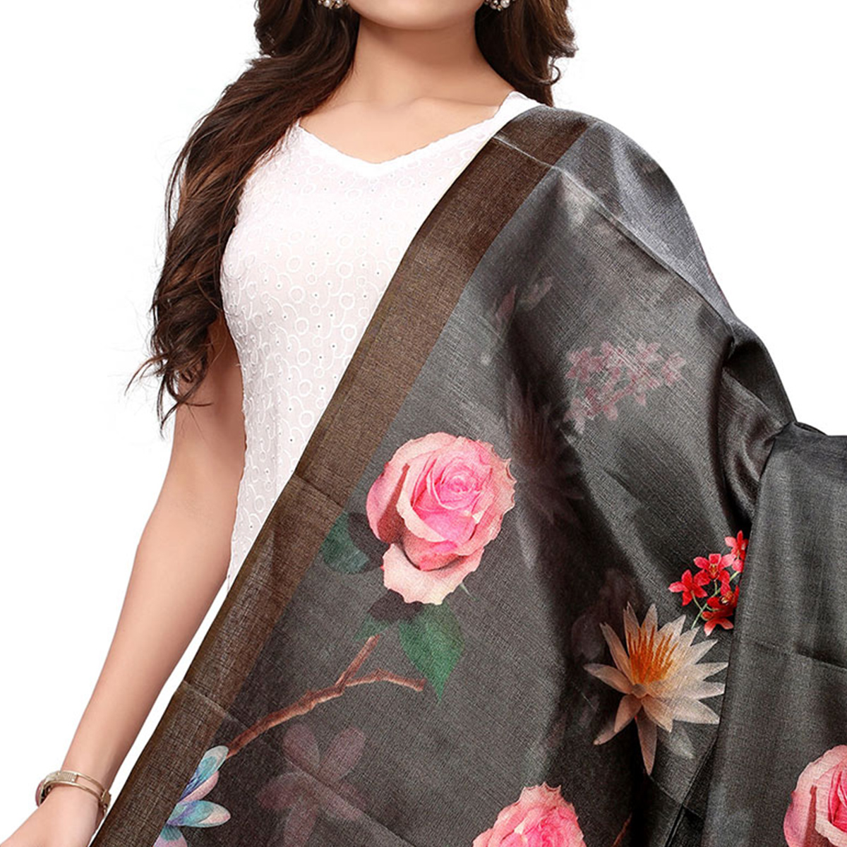 Imposing Black Colored Casual Wear Digital Printed Khadi Silk Dupatta