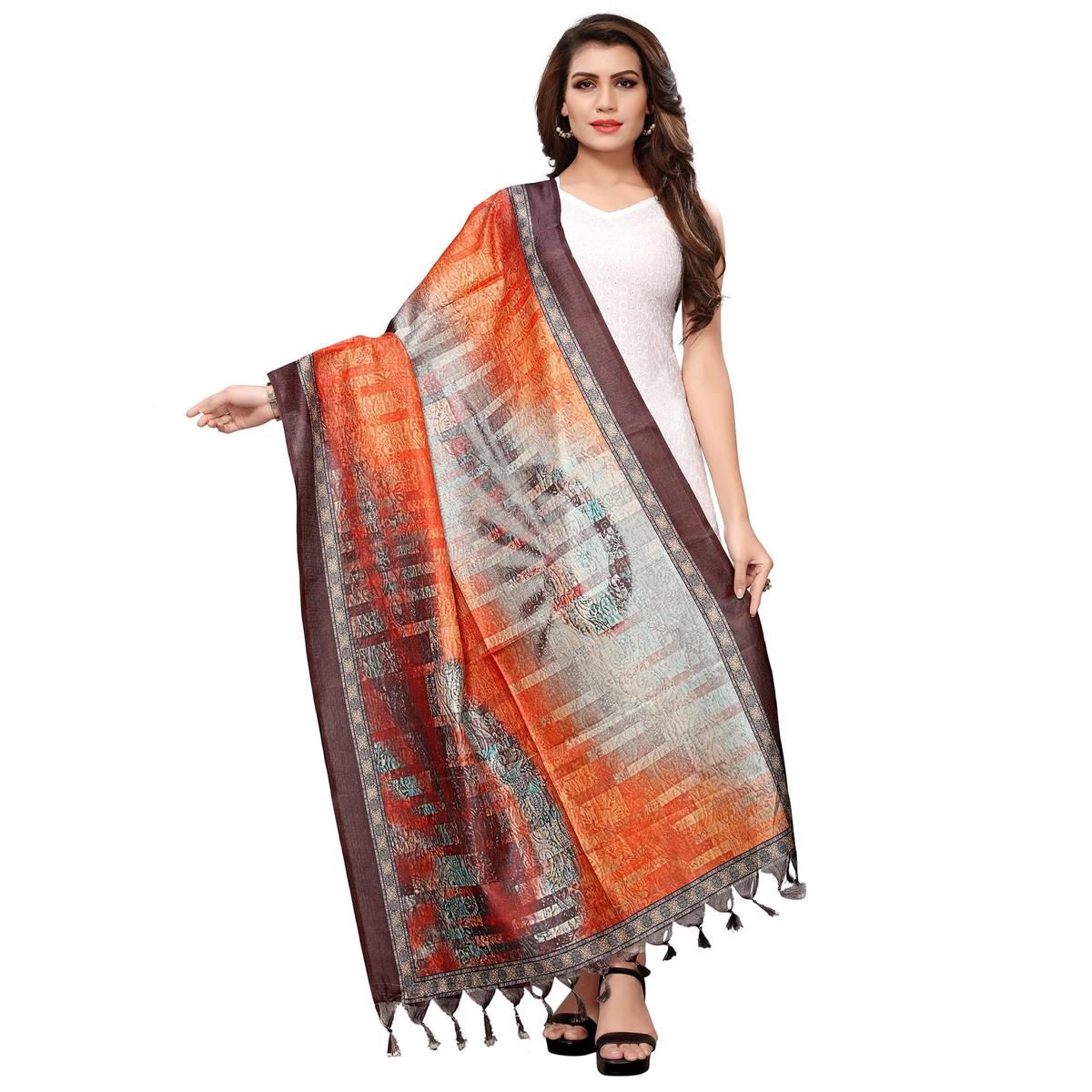 Blissful Orange-Brown Colored Casual Wear Digital Printed Khadi Silk Dupatta