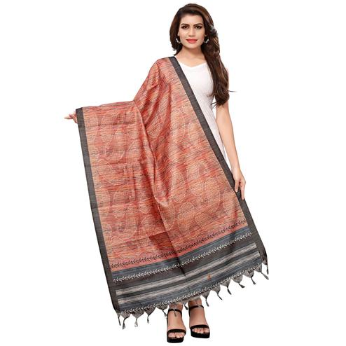 Engrossing Peach Colored Casual Wear Digital Printed Khadi Silk Dupatta