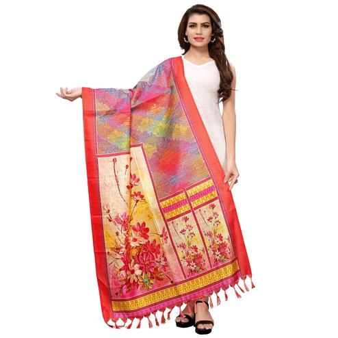 Fantastic Multicolored Casual Wear Digital Printed Khadi Silk Dupatta