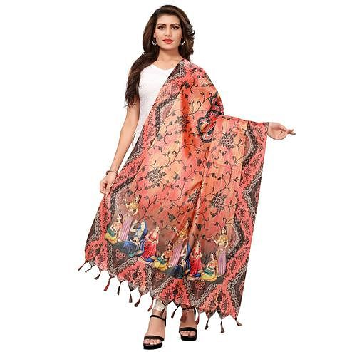 Staring Peach Colored Casual Wear Digital Printed Khadi Silk Dupatta
