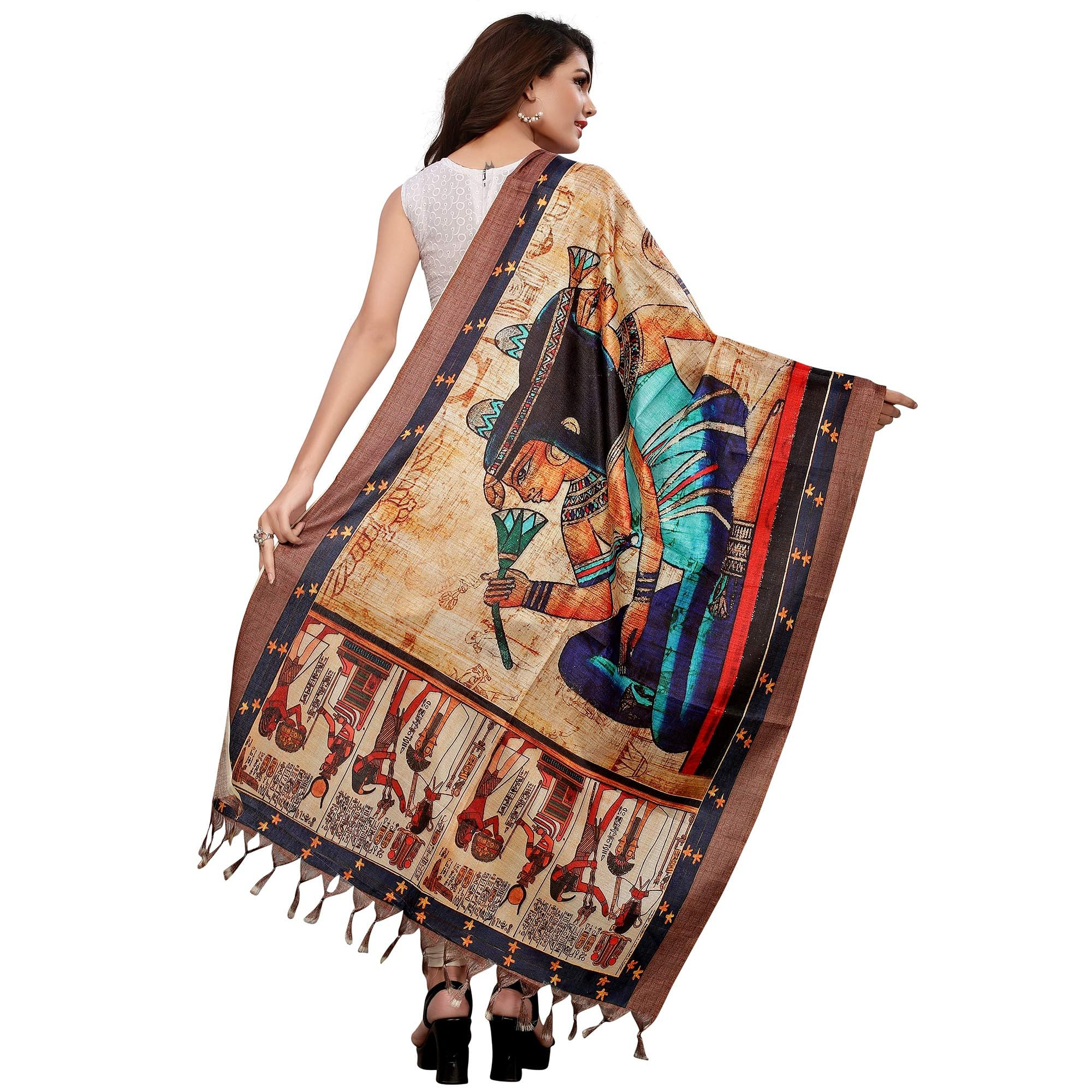 Unique Beige Colored Casual Wear Digital Printed Khadi Silk Dupatta