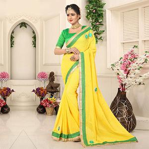 Lovely Yellow Georgette Partywear Saree