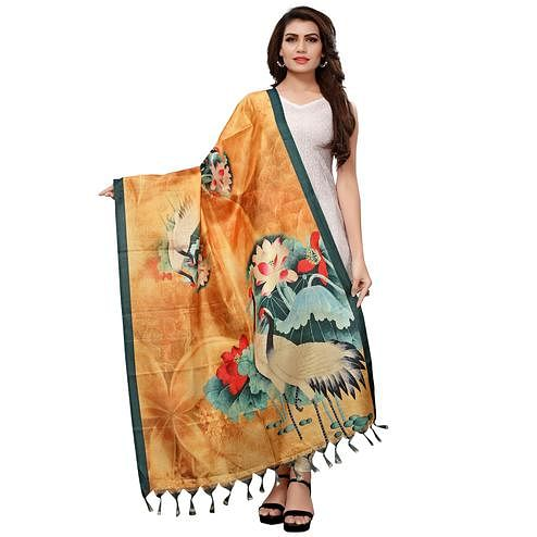 Elegant Mustard Yellow Colored Casual Wear Digital Printed Khadi Silk Dupatta