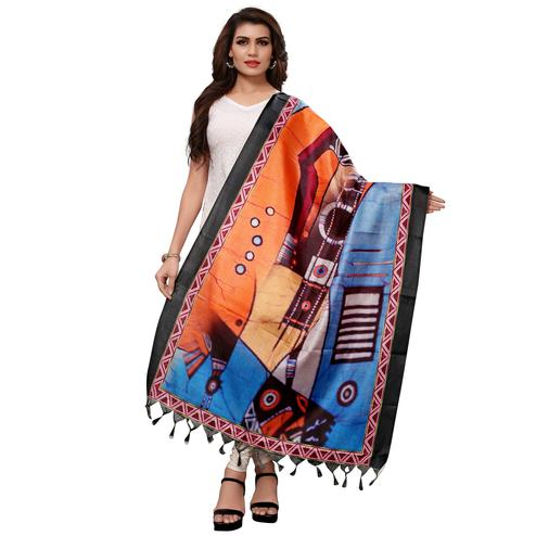 Radiant Orange-Blue Colored Casual Wear Digital Printed Khadi Silk Dupatta