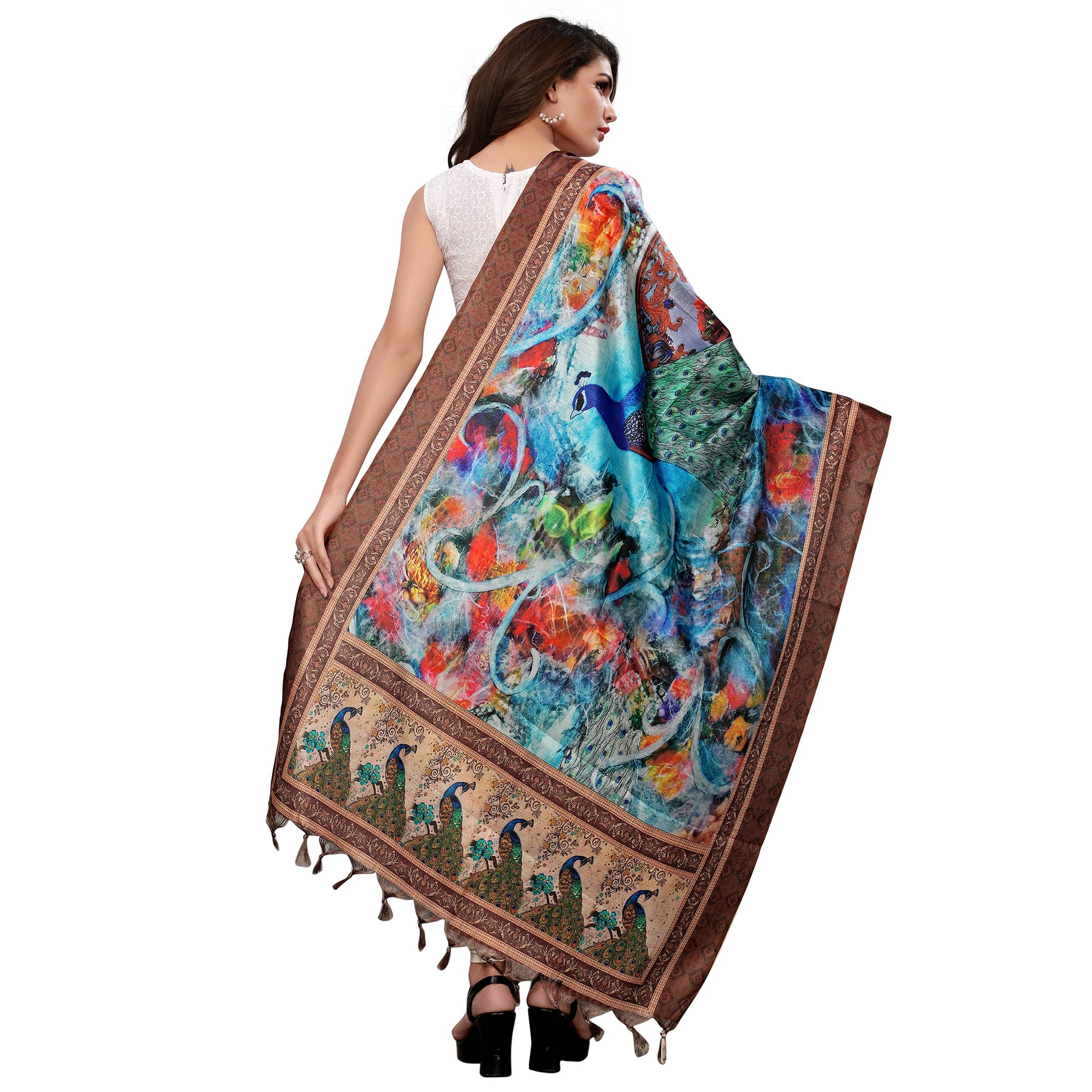 Sensational Blue-Brown Colored Casual Wear Digital Printed Khadi Silk Dupatta