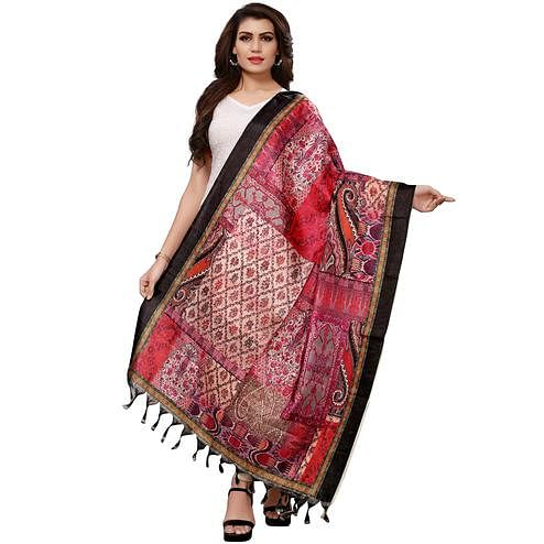 Opulent Pink-Cream Colored Casual Wear Digital Printed Khadi Silk Dupatta