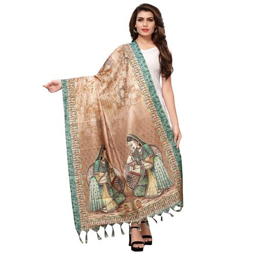 Dazzling Beige Colored Casual Wear Digital Printed Khadi Silk Dupatta
